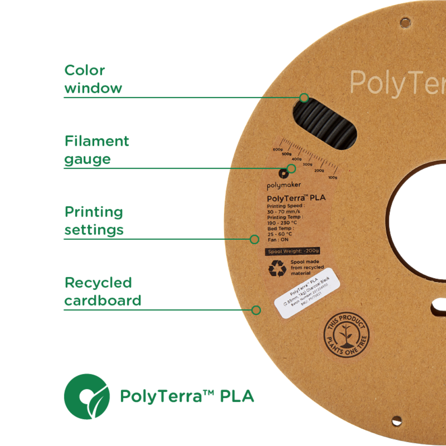 PolyTerra™ PLA black, 1KG, Charcoal Black, 1.000 grams 3D filament-2