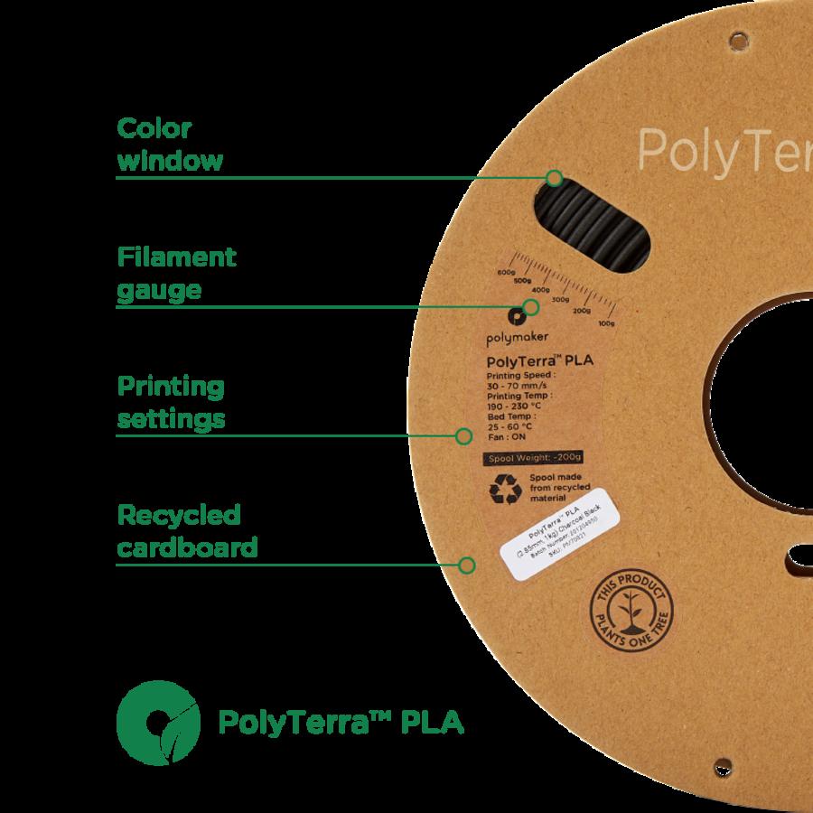 PolyTerra™ PLA zwart, 1KG, Charcoal Black, 1.000 gram 3D filament-2