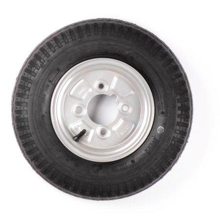 Compleet 8 inch wiel 4.00-8 band + velg - vetnippel steek: 4x101,6 - 4PR - 265 kg - 67 mm naafdiameter - inclusief vetnippel uitsparing