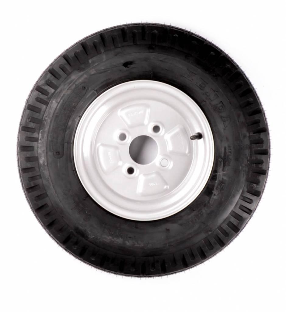 Compleet 10 inch wiel - 5.00-10 band + velg - opel steek: 4x100 - 355 kg - 4PR - 60 mm naafdiameter