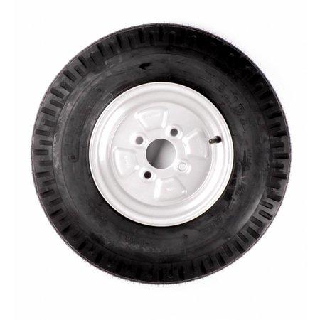 Compleet 10 inch wiel - 5.00-10 band + velg - opel steek: 4x100 - 440 kg - 6PR - 60 mm naafdiameter