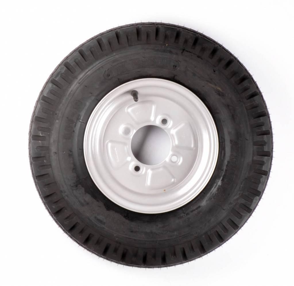 Compleet 10 inch wiel - 5.00-10 band + velg - franse steek: 4x115 - 355 kg - 4PR - 85 mm naafdiameter