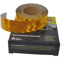Rol 50 mtr reflecterende tape - geel - harde ondergrond