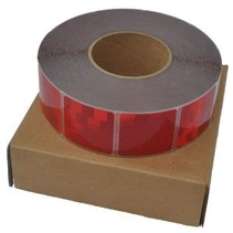 Rol 50 mtr reflecterende tape - rood - zachte ondergrond