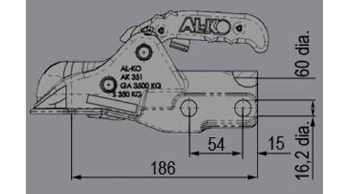 technische tekening alko ak351 3500 kg rond 60 mm