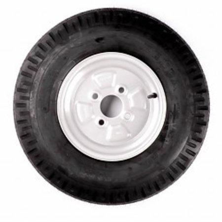 Compleet 10 inch wiel - 5.20-10 band + velg - opel steek: 4x100 - 355 kg - 4PR - 60 mm naafdiameter
