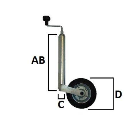 AL-KO Neuswiel  Caravan Plus Alko, rond diameter 48 mm, extra lang, kunststof velg met kunststof wiel met rubberprofiel.