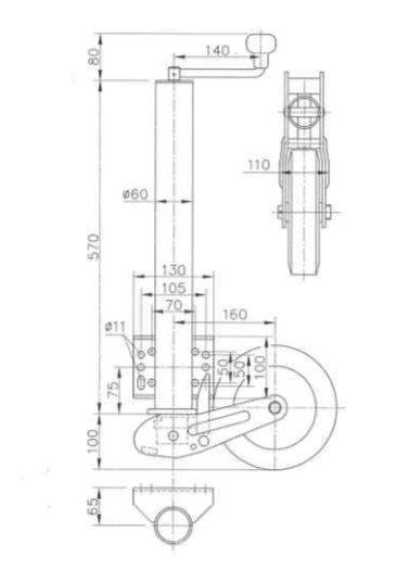 technische tekening extra lang 60 mm neuswiel