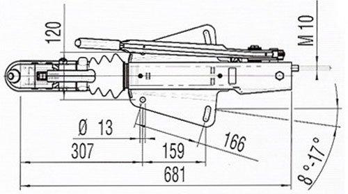 Technische tekening AL-KO 161S oplooprem 1600 kg v-dissel