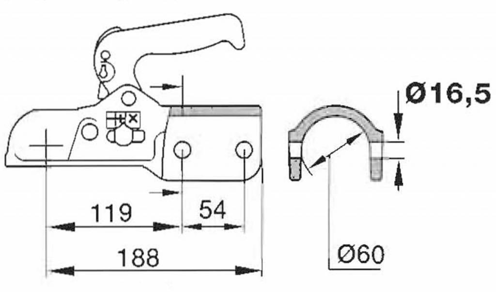 Geremde Albe EM350R kogelkoppeling technische tekening