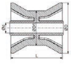 98x70 mm kielrol oranje/geel 14 mm naafdiameter - PU materiaal - technische tekening