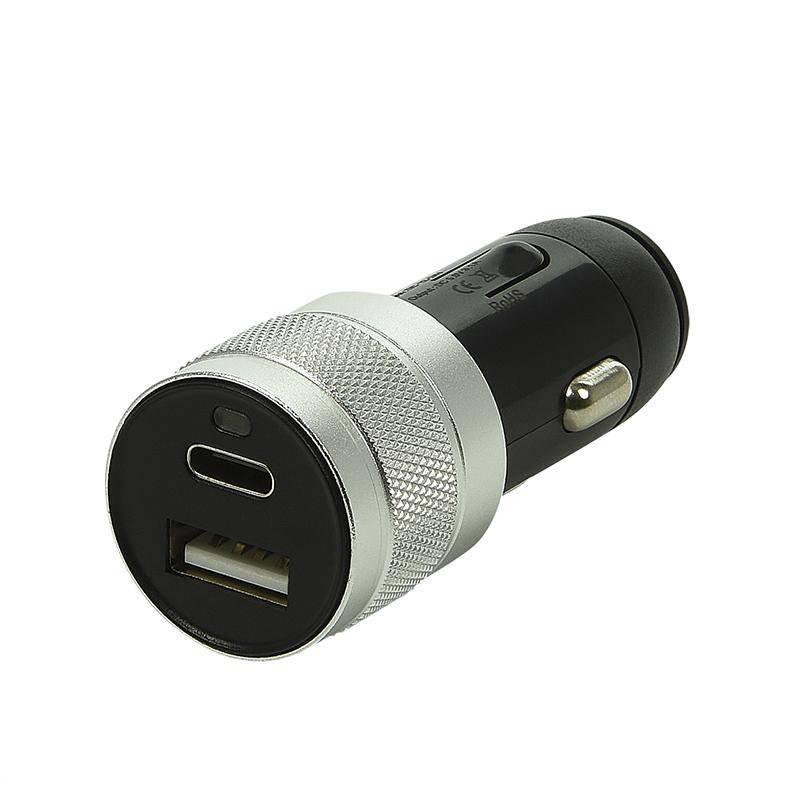 Eigen merk USB lader 2-weg 12V/24V  USB A & C