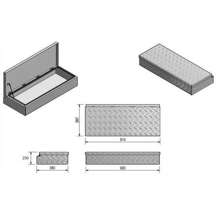Disselkist aluminium met spansluiting (90x38x23 cm)