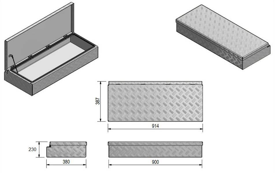 Waterdichte en stofdichte aluminium traanplaat disselkist 914x387x230 mm - inclusief geïntegreerde spansluiting technische tekening