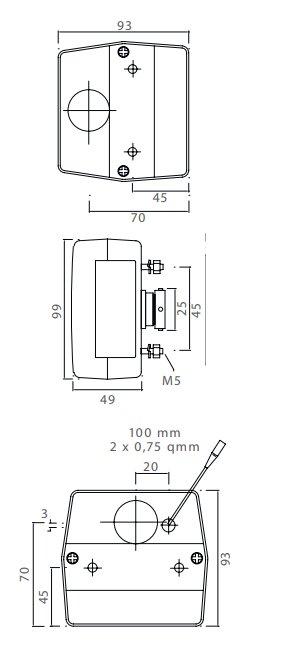 Minipoint - Achterlicht - 23-0300-507 - 5 polig - Links/Rechts met kentekenverlichting 98x90x49 mm - technische tekening
