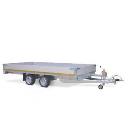Eduard Geremde Eduard multitransporter - 406x200 cm - 2700 kg bruto laadvermogen - 63 cm laadvloerhoogte - 40 cm borden - inclusief oprijplaten en handlier