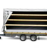 Eduard Geremde Eduard multitransporter - 406x200 cm - 3000 kg bruto laadvermogen - 56 cm laadvloerhoogte - 30 cm borden - inclusief oprijplaten en handlier