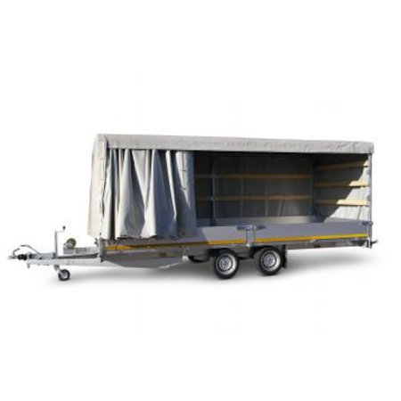 Eduard Geremde Eduard multitransporter - 506x220 cm - 3000 kg bruto laadvermogen - 63 cm laadvloerhoogte - 30 cm borden - inclusief oprijplaten en handlier
