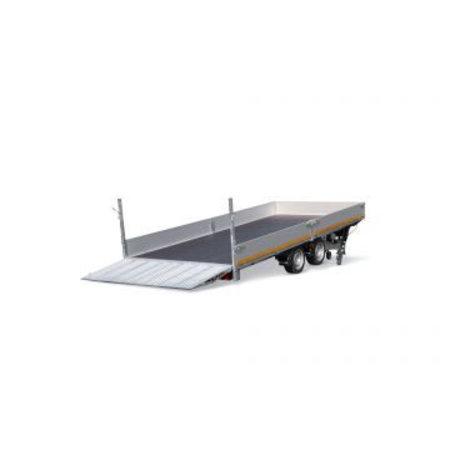 Eduard Geremde Eduard machinetransporter - 406x220 cm - 2700 kg bruto laadvermogen - elektrisch, extern laden, afstandsbediening - 56 cm laadvloerhoogte - 30 cm borden