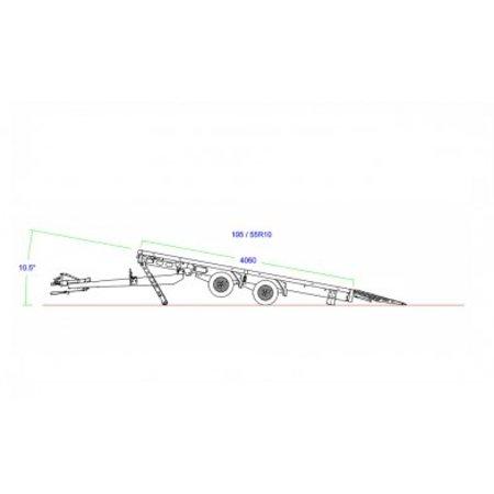 Eduard Geremde Eduard machinetransporter - 506x200 cm - 2700 kg bruto laadvermogen - elektrisch, extern laden, afstandsbediening - 56 cm laadvloerhoogte - 30 cm borden