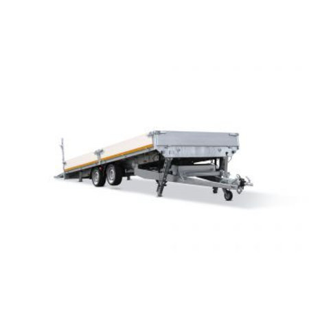 Eduard Geremde Eduard machinetransporter - 606x220 cm - 3000 kg bruto laadvermogen - elektrisch, extern laden, afstandsbediening - 63 cm laadvloerhoogte - 30 cm borden