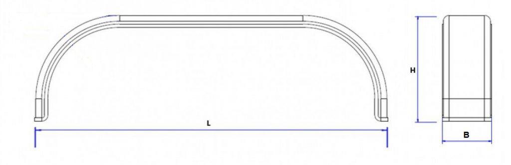 technische tekening tandem spatbord aanhangwagendirect.nl materiaal kunststof plastic/staal/metaal/aluminium/traanplaat