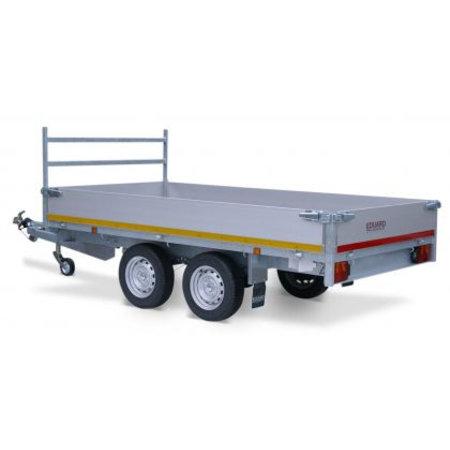 Eduard Geremde Eduard plateauwagen - 330x180 cm - 1350 kg bruto laadvermogen - 63 cm laadvloerhoogte - 40 cm borden - inclusief oprijplaten