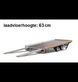 Eduard Geremde Eduard autotransporter - 406x200 cm - 2700 kg bruto laadvermogen - 63 cm laadvloerhoogte - kantelbaar met oprijplaten - 10 cm reling