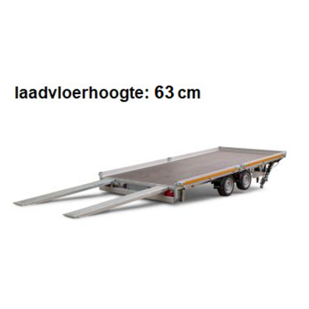 Eduard Geremde Eduard autotransporter - 606x200 cm - 3000 kg bruto laadvermogen - 63 cm laadvloerhoogte - kantelbaar met oprijplaten - vlak