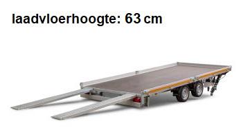 Eduard Geremde Eduard autotransporter - 606x220 cm - 3500 kg bruto laadvermogen - 63 cm laadvloerhoogte - kantelbaar met oprijplaten - vlak