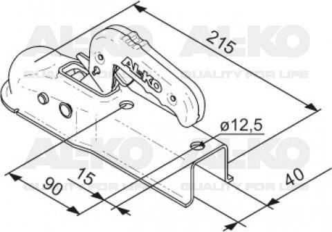 Ongeremde AL-KO AK7-I kogelkoppeling technische tekening