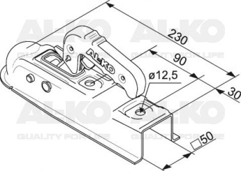 alko al-ko ak7-d 50 mm koker koppeling technische tekening