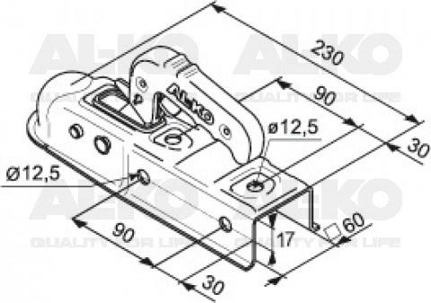 Ongeremde AL-KO AK7-E kogelkoppeling technische tekening