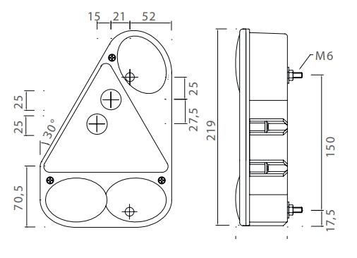 Aspock Earpoint 3 - rechts - voorzien van connector aansluiting technische tekening - 24-4810-007