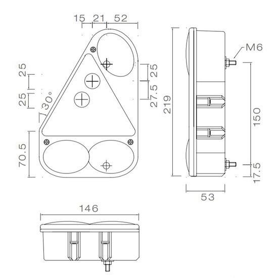 Aspock Earpoint 3 - links - voorzien van connector aansluiting technische tekening - 24-4700-007