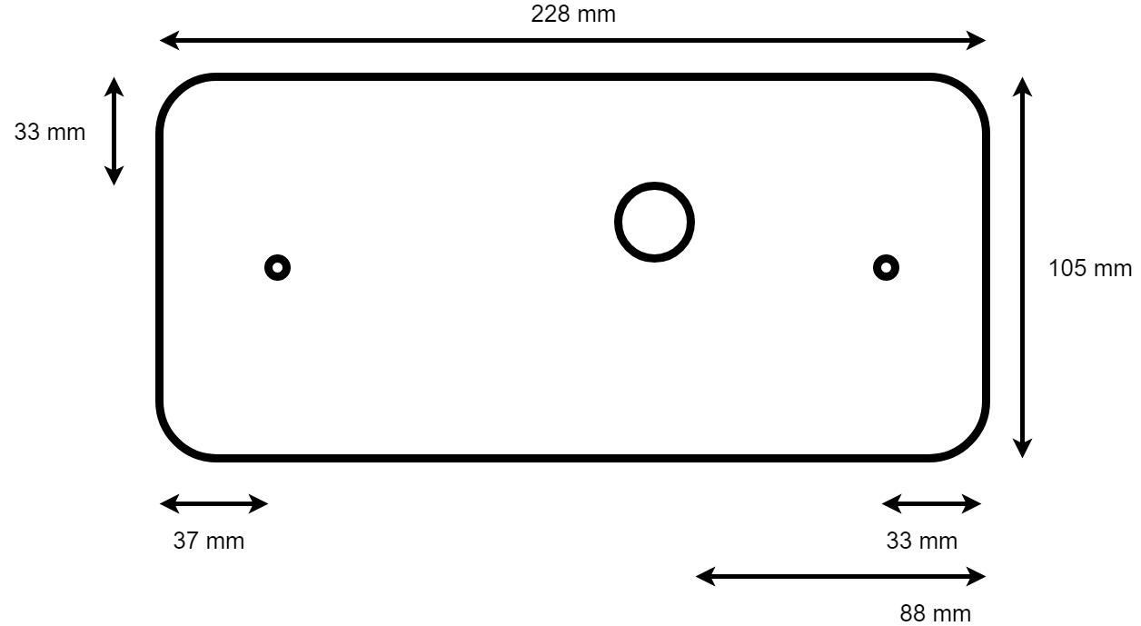 Technische tekening LED lamp rechts