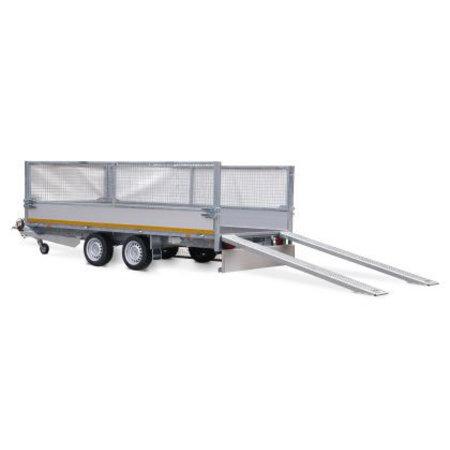 Eduard Geremde Eduard multitransporter - 406x220 cm - 3000 kg bruto laadvermogen - 56 cm laadvloerhoogte - 30 cm borden - inclusief oprijplaten en handlier