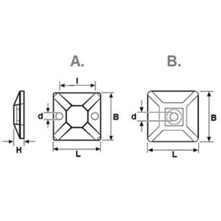 Zelfklevende houders voor tie rips - 28x28 mm