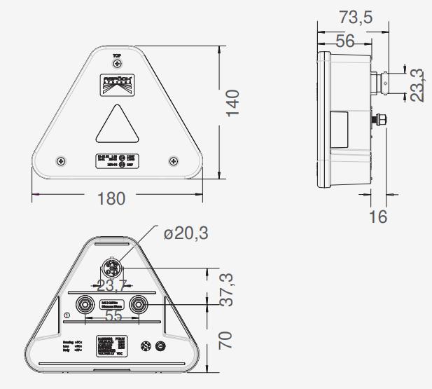 Aspock Agripoint - links - LED - 180x140x56 mm - inclusief kentekenverlichting - 23-4000-537 technische tekening