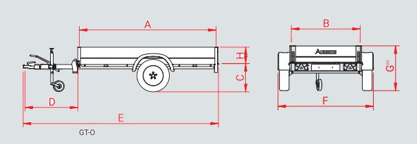 Anssems GT 500 bakwagen - 500 kg bruto laadvermogen - 151x101 cm laadoppervlak - ongeremd - 1.10.1.0101.00 technische tekening