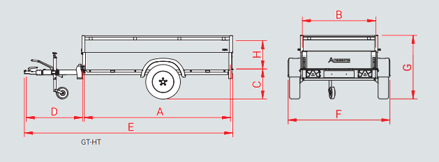 Anssems GTB 1200 HT bagagewagen - 1200 kg bruto laadvermogen - 251x126x48 cm laadoppervlak - geremd - inclusief deksel - 1.10.1.0505.02 technische tekening