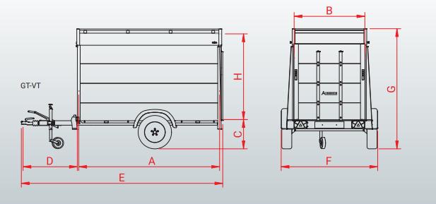 Anssems Anssems GT-B 251x126 cm - 1200 kg - geremd technische tekening