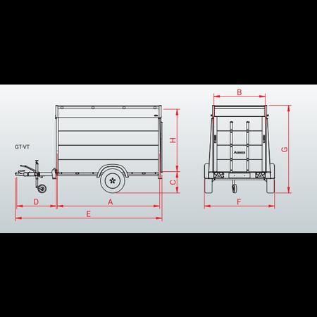 Anssems Anssems GTB 750 VT2 HT gesloten aanhanger - 750 kg bruto laadvermogen - 211x126x118 cm laadoppervlak - geremd - inclusief deksel en achterklep