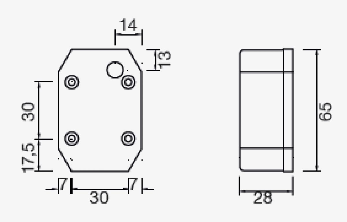 Aspock Flexipoint 1 - rood - losse draad aansluiting technische tekening - 21-6510-007