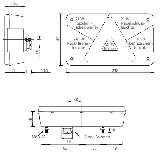 multipoint 5 rechts technische tekening 8-polig