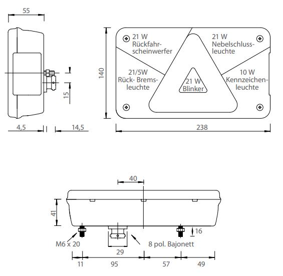 multipoint 5 8-polig links technische tekening