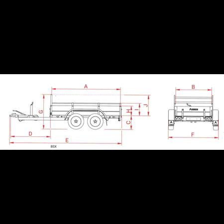 Anssems Anssems BSX 1500 bakwagen - 1500 kg bruto laadvermogen - 301x150 cm laadoppervlak - geremd