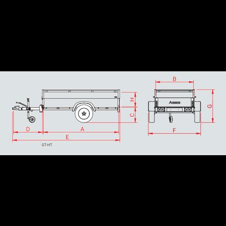 Anssems Anssems GT 500 VT1 bagagewagen - 500 kg bruto laadvermogen - 181x101x83 cm laadoppervlak - ongeremd - inclusief deksel