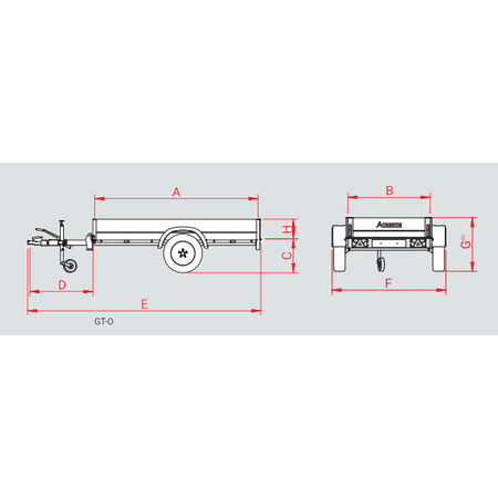 Anssems Anssems GTB 750 bakwagen - 750 kg bruto laadvermogen - 211x126 cm laadoppervlak - geremd