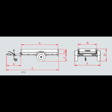 Anssems Anssems GTB 1200 bakwagen - 1200 kg bruto laadvermogen - 251x126 cm laadoppervlak - geremd
